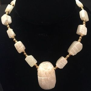 Jewelry - Vintage 60s Hand Carved Soapstone Artisan Necklace